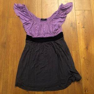 Purple Black Gray Top Blouse